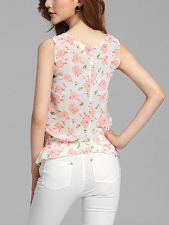 White and Pink Blouse Plus Size Floral Top for Casual Party