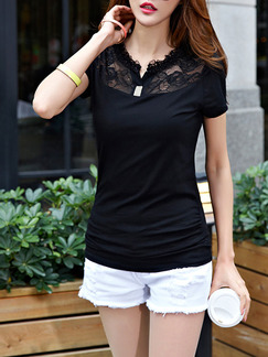 Black Blouse Lace Plus Size Top for Casual Party Evening