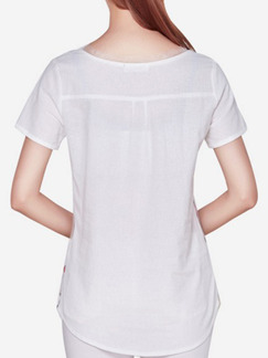 White Colorful T-Shirt Plus Size Top for Casual Party