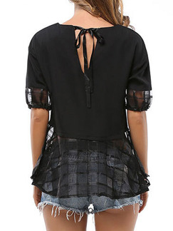Black Blouse Plus Size Top for Casual Evening Party