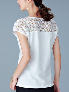 White T-Shirt Lace Plus Size Top for Casual Evening Office