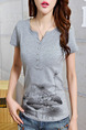 Grey T-Shirt Plus Size Top for Casual Party