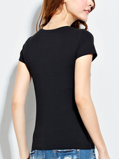 Black T-Shirt Plus Size Top for Casual Party