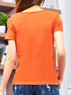 Orange T-Shirt Plus Size Lace Top for Casual Party
