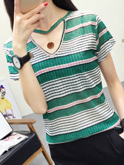 Green and White Blouse V Neck Plus Size Top for Casual Office