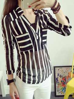 Black and White Stripe Blouse Plus Size Top for Casual Party