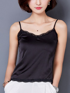 Black Blouse Slip Plus Size Lace Top for Casual Party