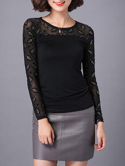 Black Blouse Plus Size Long Sleeve Top for Casual Evening Office
