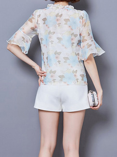 White Colorful Blouse Plus Size Top for Casual Party Evening
