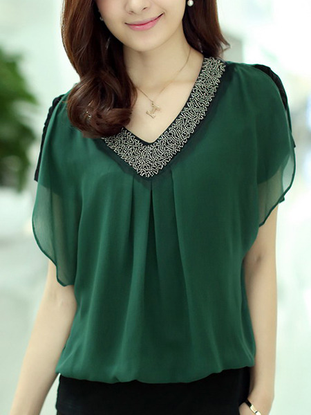 Green Blouse V Neck Plus Size Top for Casual Evening Office