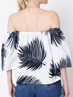 Blue and White Blouse Off Shoulder Plus Size Top for Casual Party Beach