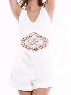 White One Piece Shorts Plus Size V Neck Slip Jumpsuit for Casual Evening Party