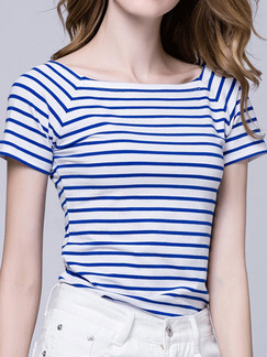 Blue and White Stripe T-Shirt Plus Size Top for Casual Party
