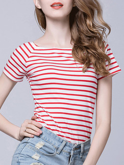 White and Red Stripe T-Shirt Plus Size Top for Casual Party