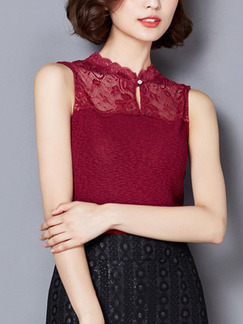 Red Blouse Lace Plus Size Top for Casual Evening Office