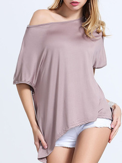Beige Blouse One Shoulder Plus Size Top for Casual Evening Party