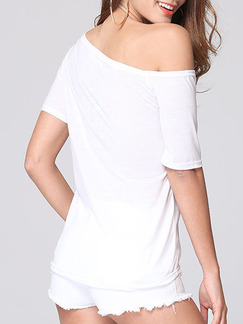 White Blouse One Shoulder Plus Size Top for Casual Party Evening