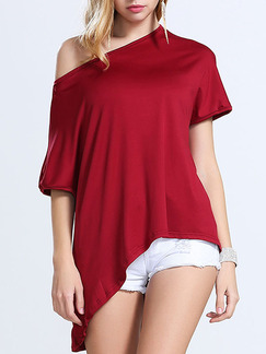 Red Blouse One Shoulder Plus Size Top for Casual Party Evening