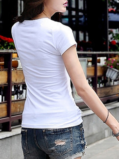 White T-Shirt Plus Size Top for Casual
