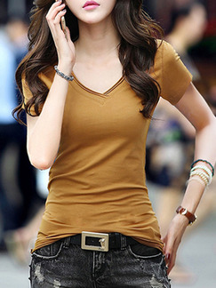 Brown T-Shirt V Neck Plus Size Top for Casual