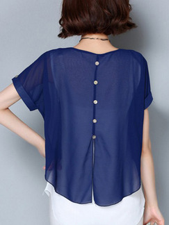 Blue Blouse Plus Size Top for Casual Office Evening