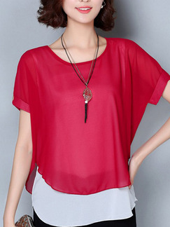 Red Blouse Plus Size Top for Casual Office Evening