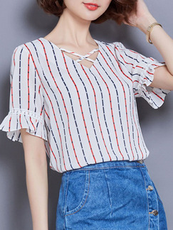 White and Red Blue Stripe Blouse V Neck Plus Size Top for Casual Office Evening