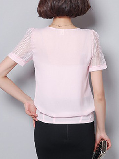 Pink Blouse Plus Size Cute Top for Casual Office