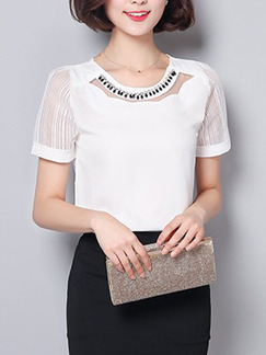 White Blouse Plus Size Top for Casual Office