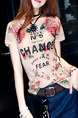 Beige and Red T-Shirt Plus Size Floral Top for Casual Party