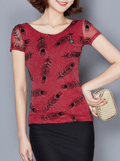 Red and Black Blouse Plus Size Top for Casual Evening