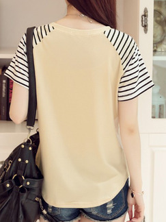 Beige T-Shirt Plus Size Top for Casual