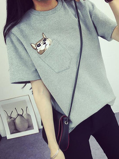 Grey T-Shirt Plus Size Top for Casual