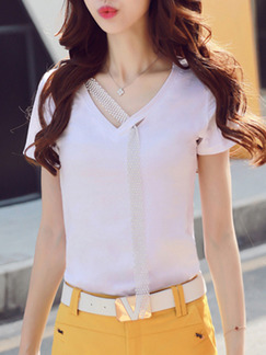White T-Shirt V Neck Plus Size Top for Casual Evening Office