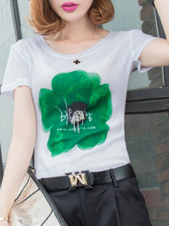 White and Green T-Shirt Floral Top for Casual Party