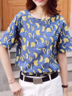 Blue and Yellow Blouse Top for Casual