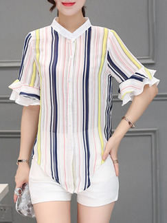 White Blue Colorful Blouse Plus Size Top for Casual Evening Office