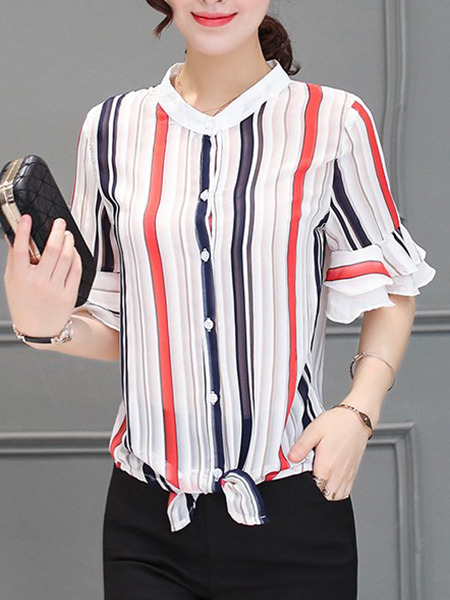 White Red Colorful Blouse Plus Size Top for Casual Evening Office