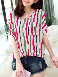 White and Pink Blouse Cute Plus Size Top for Casual Party
