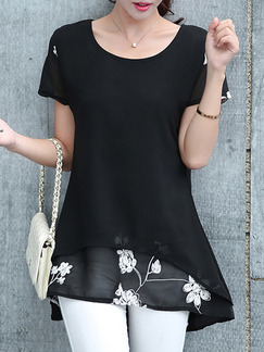 Black T-Shirt Plus Size Top for Casual Evening