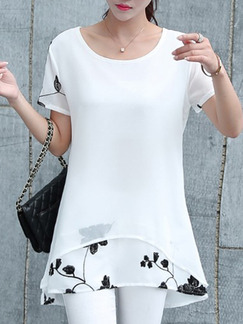 White T-Shirt Plus Size Top for Casual Evening