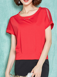 Red T-Shirt Plus Size Top for Casual Office Evening