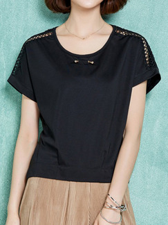Black T-Shirt Plus Size Top for Casual Evening Office