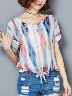 White and Blue Colorful Blouse Plus Size Top for Casual Beach