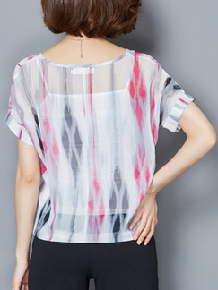 White and Pink Colorful Blouse Plus Size Top for Casual Beach