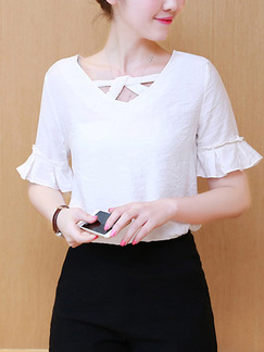 White Blouse Plus Size Top for Casual Evening Office
