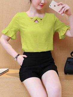 Green Blouse Plus Size Top for Casual Evening Office