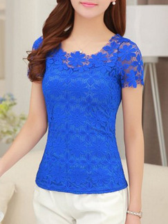 Blue Blouse Lace Plus Size Top for Casual Evening Office