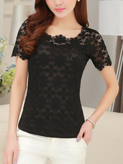 Black Blouse Lace Plus Size Top for Casual Evening Office
