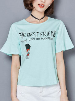 Blue Green T-Shirt Plus Size Top for Casual